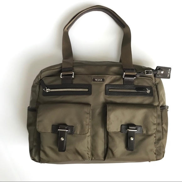 Tumi Handbags - Nylon Leather-Trimmed Carry-On Olive Brown TUMI